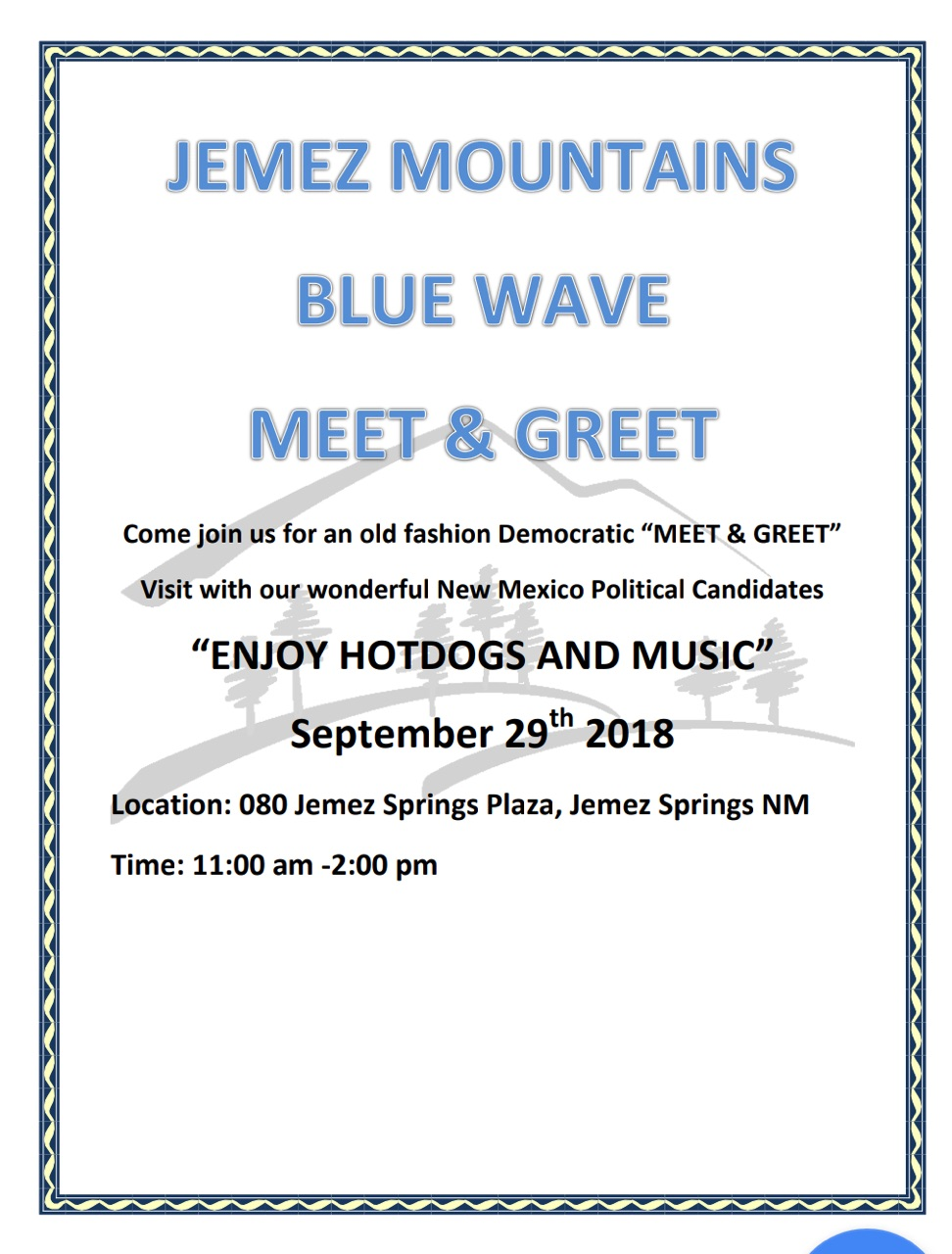Jemez Mountains Blue Wave Meet and Greet @ Jemez Springs Plaza | Jemez Springs | New Mexico | United States