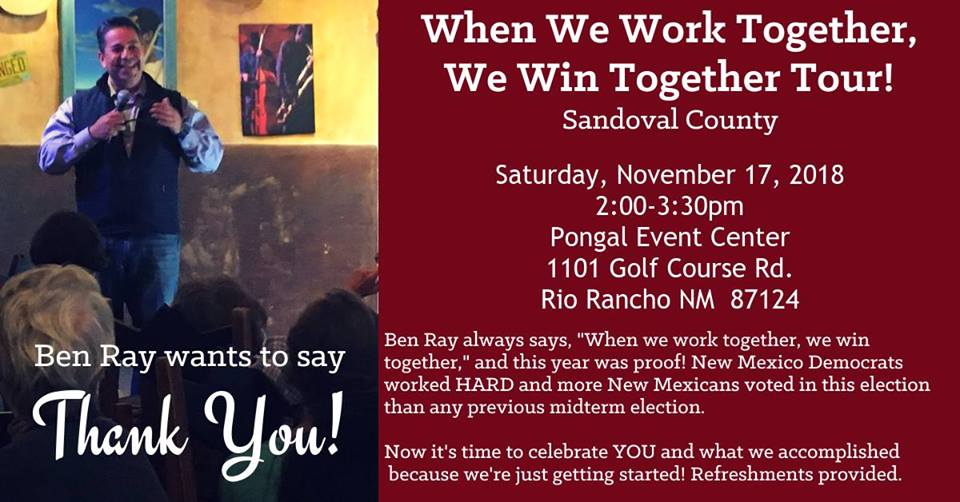 Ben Ray Wants to Say Thank You! @ Pongal Even center | Rio Rancho | New Mexico | United States