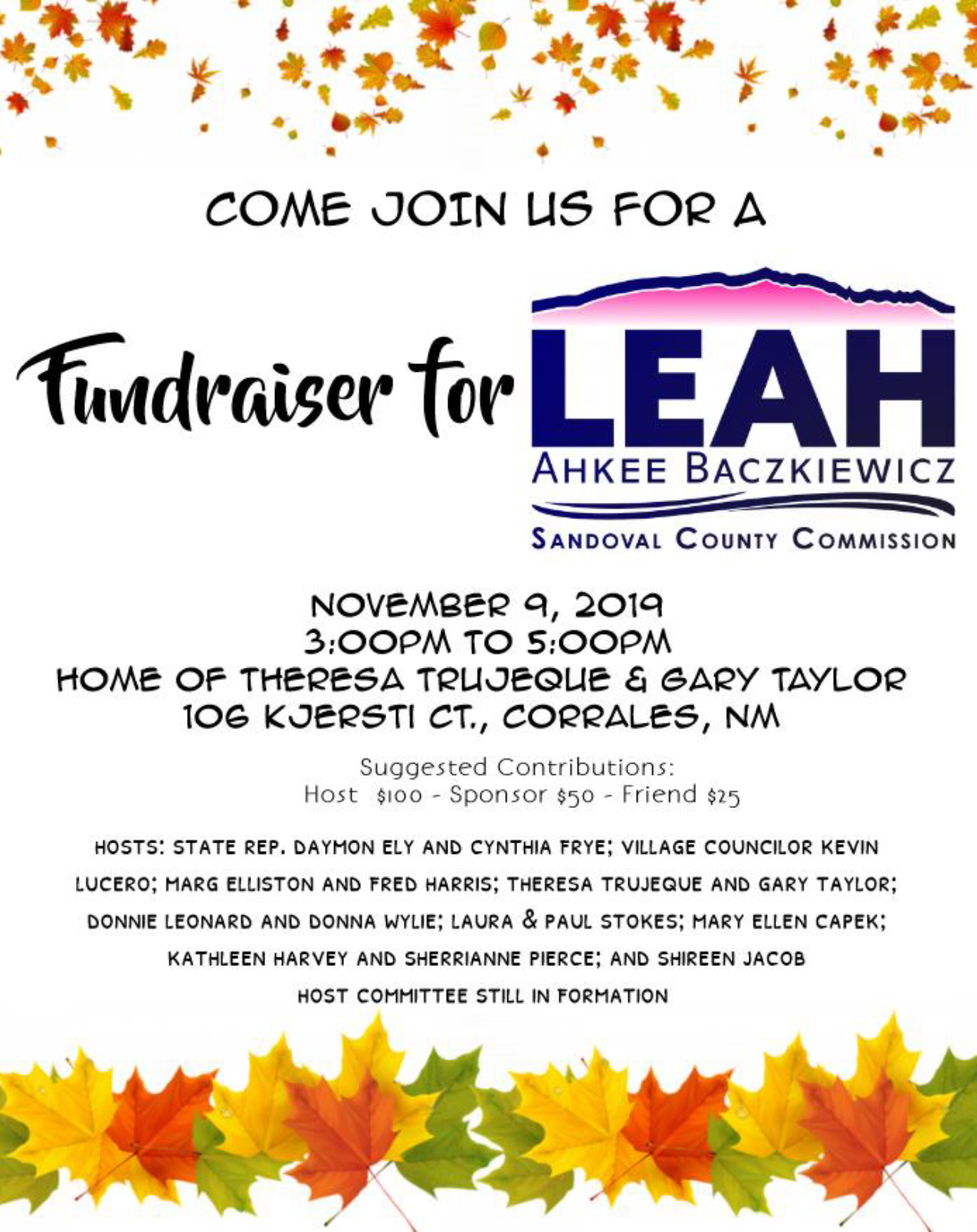 Fundraiser for Leah Ahkee Baczkiewicz @ Corrales | New Mexico | United States