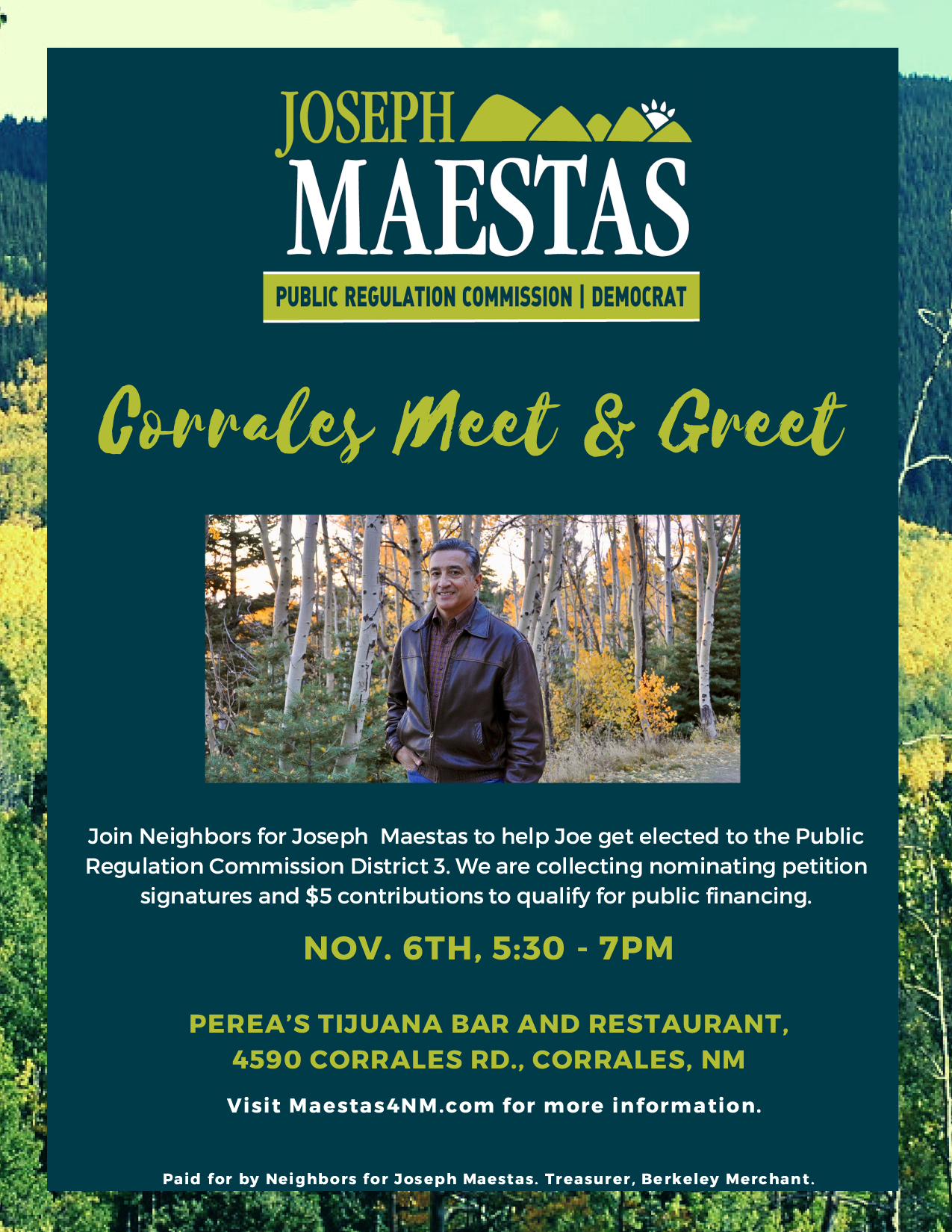 Joseph Maestas Corrales Meet and Greet @ PEREA'S TIJUANA BAR AND RESTAURANT | Corrales | New Mexico | United States