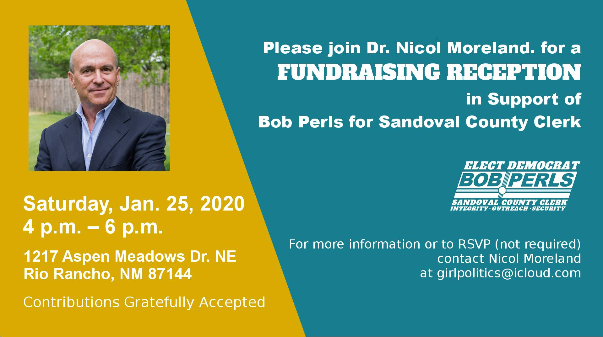 Bob Perls for Sandoval County Clerk @ Rio Rancho | New Mexico | United States