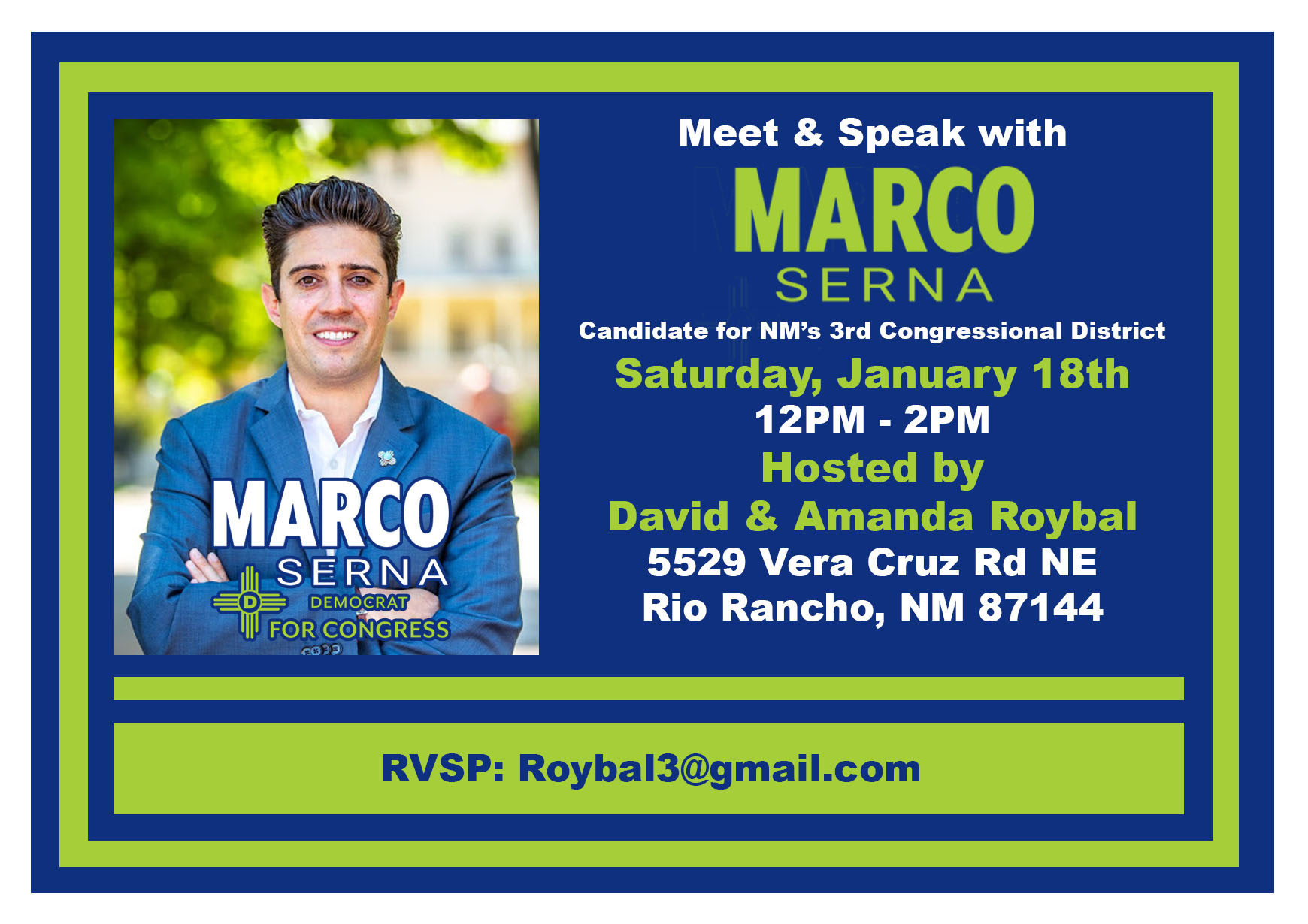Marco Serna Candidate for NM 3rd Congressional District @ Rio Rancho | New Mexico | United States