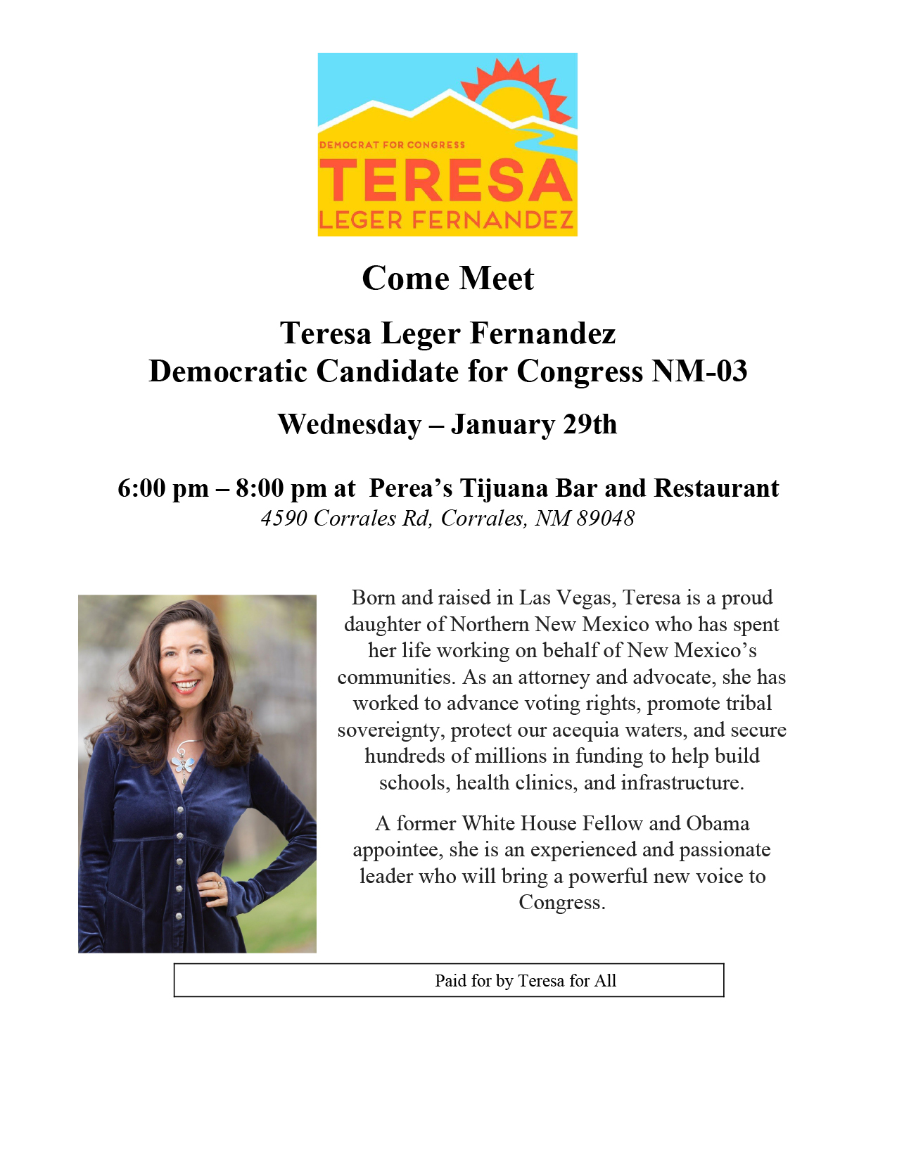 Come Meet Teresa Leger Fernandez Democratic Candidate for Congress NM-03 @ Perea's Tijuana Bar and Restaurant | Corrales | New Mexico | United States
