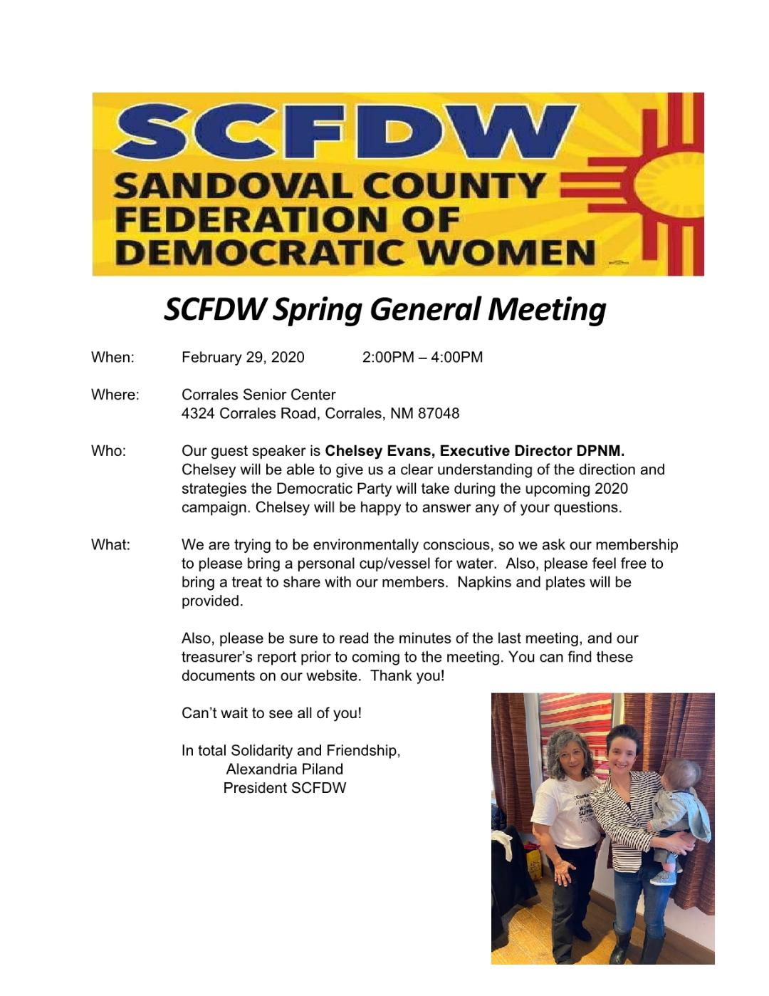The Sandoval County Federation of Democratic Women - General Meeting @ Corrales Senior Center   Corrales   New Mexico   United States