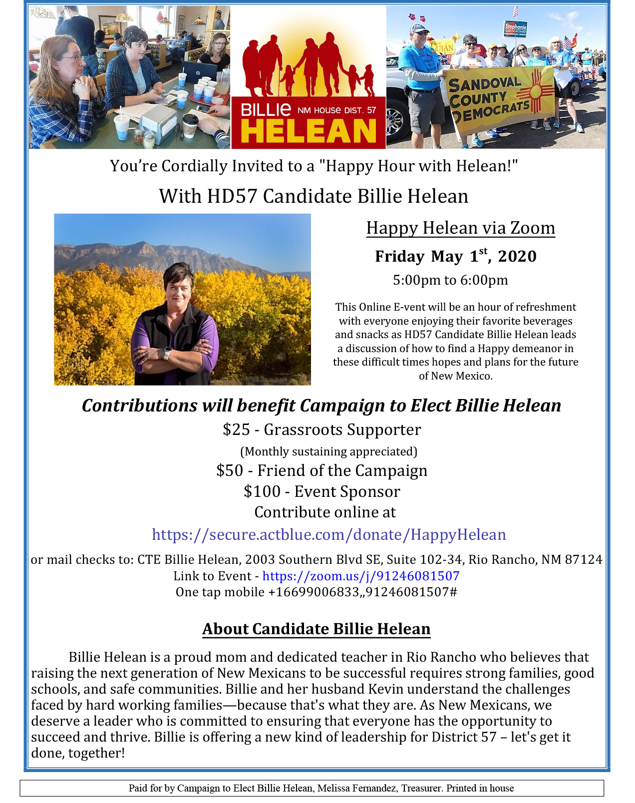 "You're Cordially Invited to a ""Happy Hour with Helean!"" With HD57 Candidate Billie Helean"