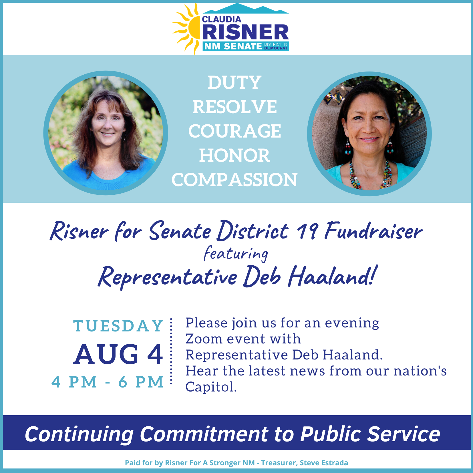 RISNER'S Fundraiser with Representative Deb Haaland Tuesday, August 4th from 4 pm - 6 pm