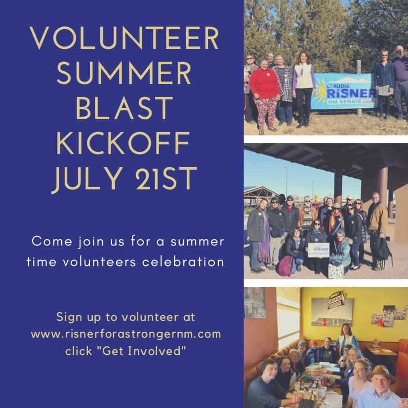 RISNER'S VOLUNTEER SUMMER BLAST KICKOFF Tuesday, July 21st at 2 pm