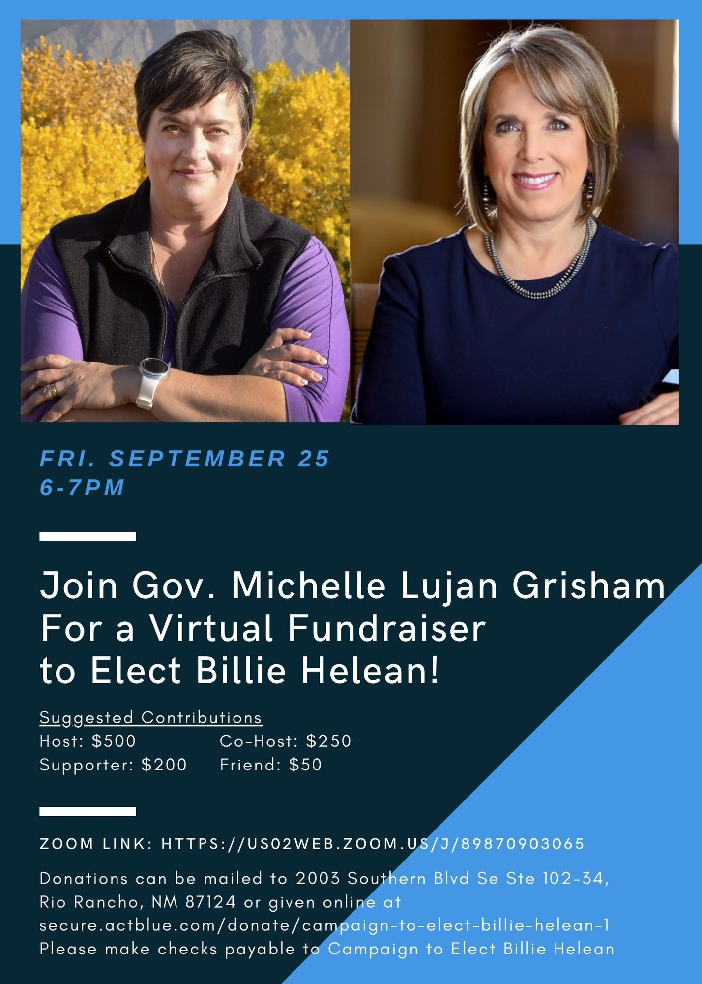 Join Gov. Lujan Grisham For a Virtual Fundraiser to Elect Billie Helean